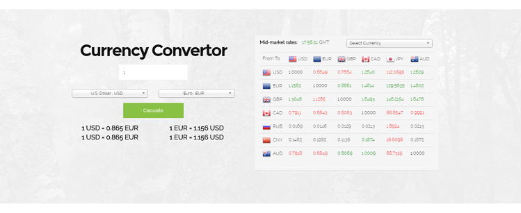 An example of exchange rate calculator with favorable mid-market rates