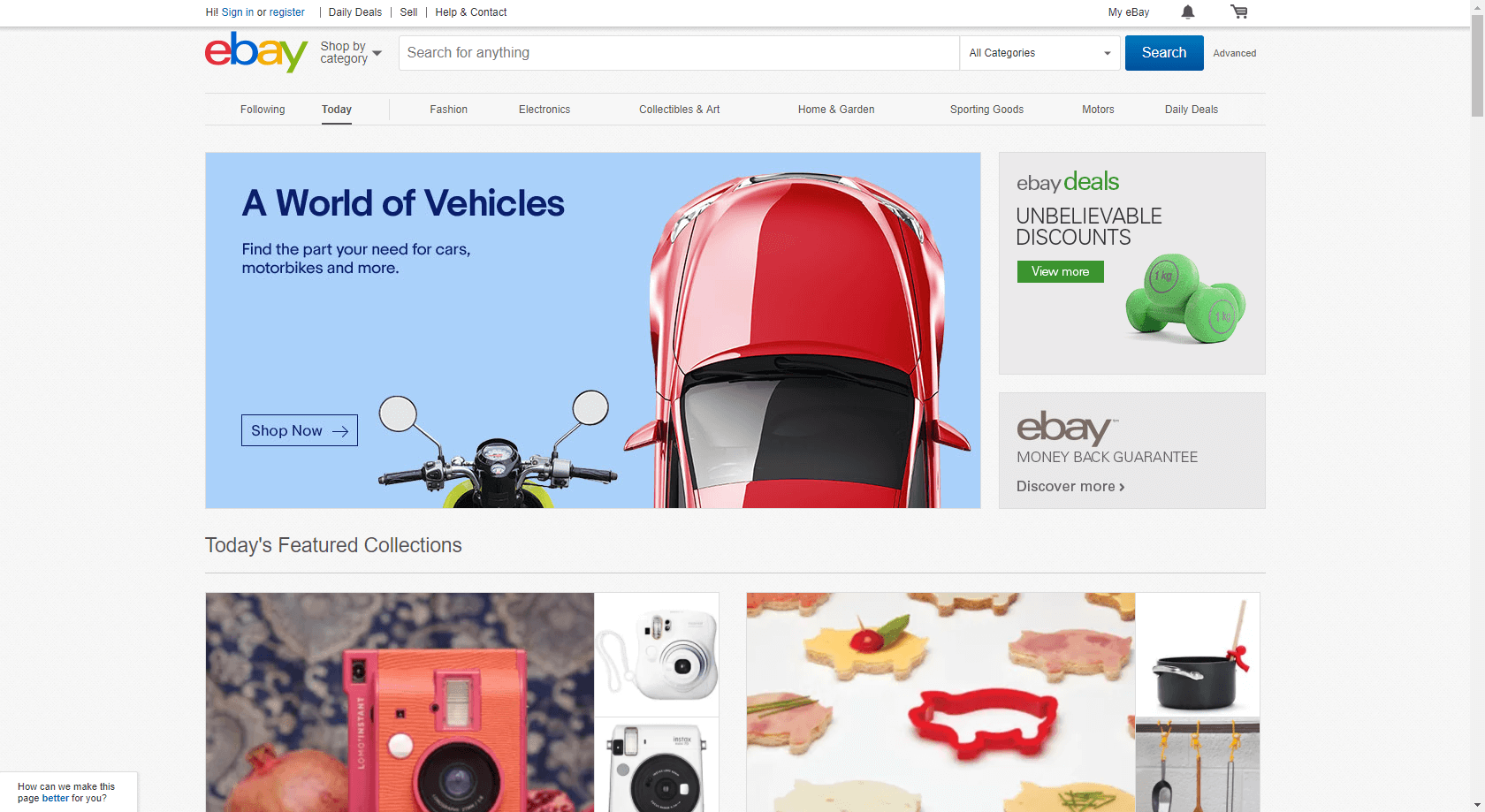 eBay homepage (screengrab)