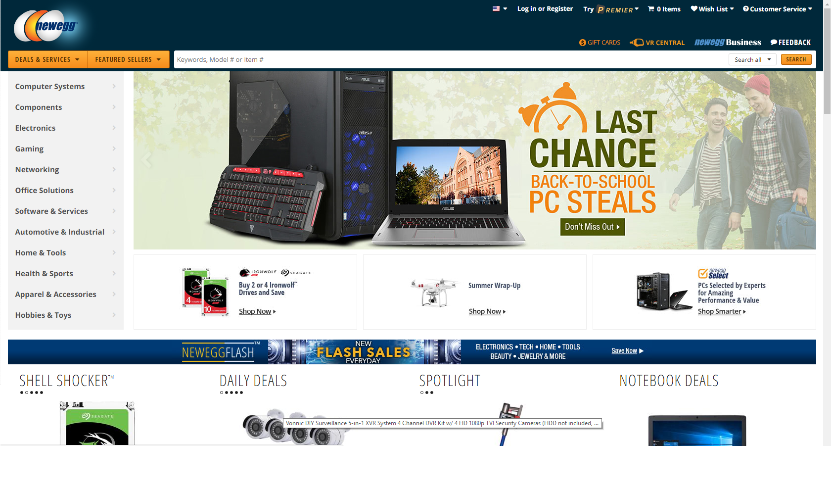 Newegg homepage (screengrab)