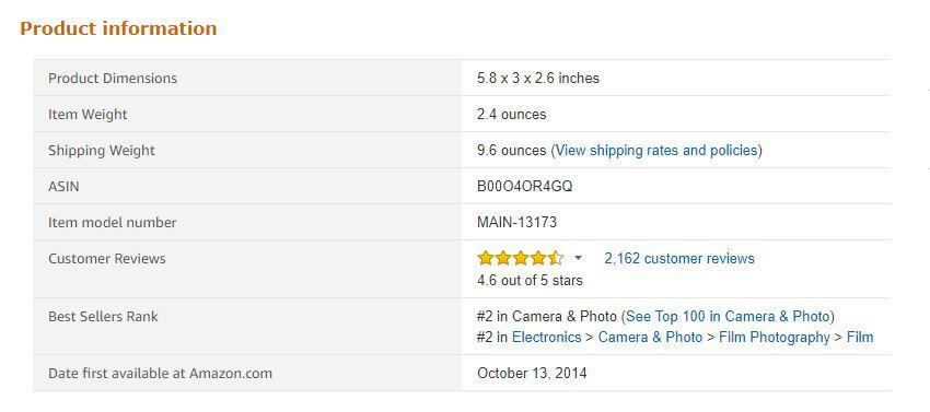 An example of Best Sellers Rank