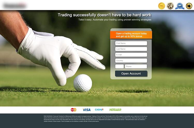 An example of a landing page