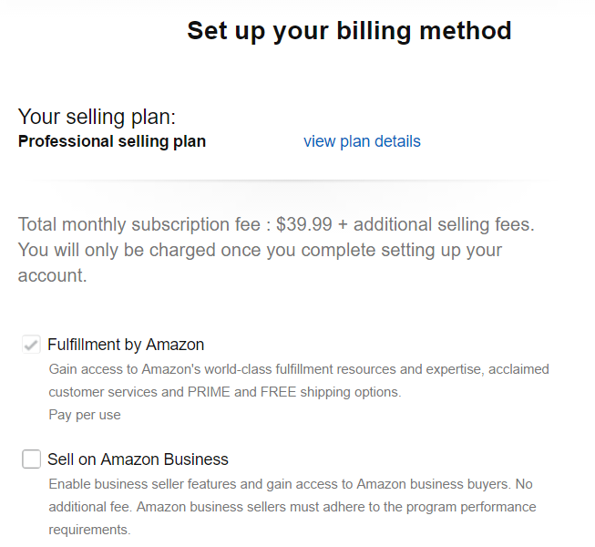 amazon seller central billing method